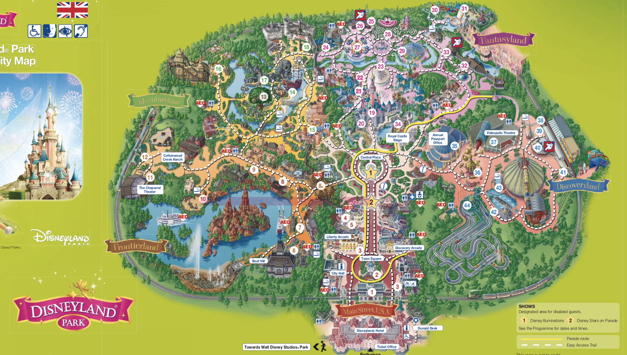 mapa, Disneyland, paris